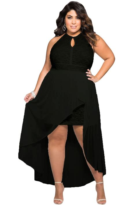 Flow Sequin Dress For Big Size new stylish black lace special occasion plus size dress