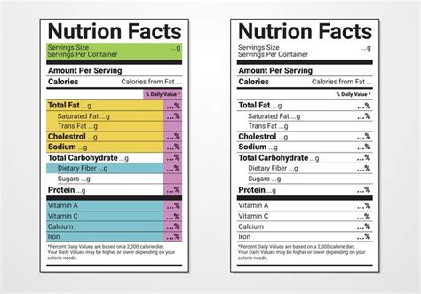 nutrition facts label template nutrition facts label vector templates free