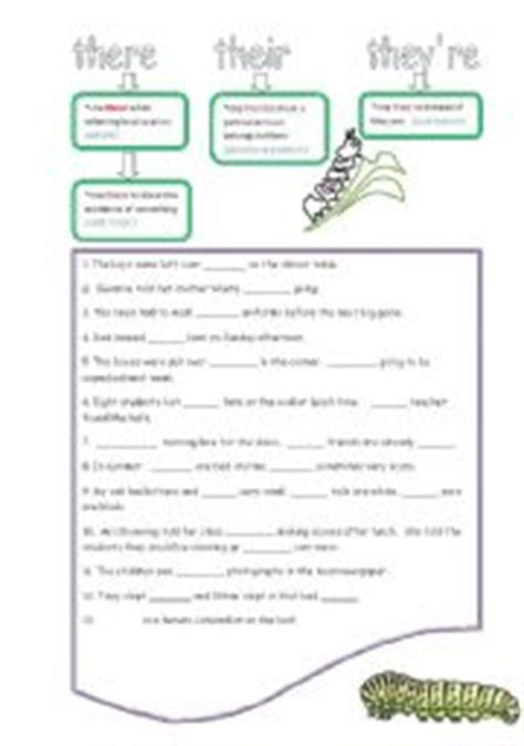 There Their And They Re Worksheets by Worksheet There Their They 180 Re