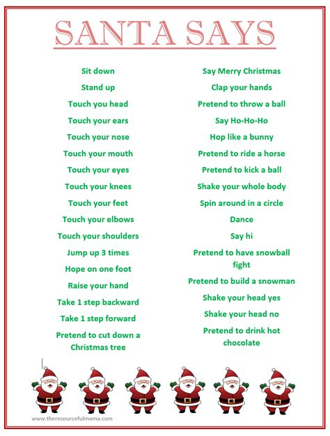 printable christmas party games pack download santa says for free printable kid network activities crafts