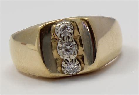 yellow gold  stone diamond mens ring ebay