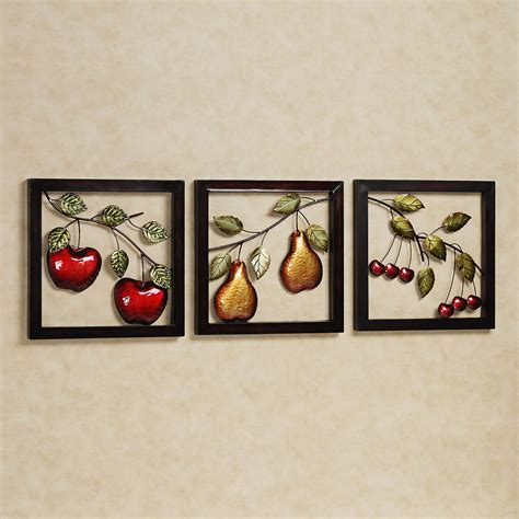 sculptures for home decor beautiful fruits metal wall art decor kitchen with black