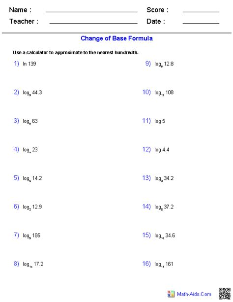 printable math worksheets logarithmic equation solving exponential and logarithmic equations worksheet