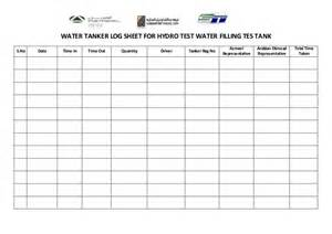 pat testing record sheet template water tanker log sheet