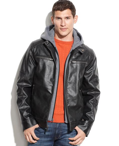 hooded motorcycle jacket guess hooded faux leather moto jacket in black for men lyst