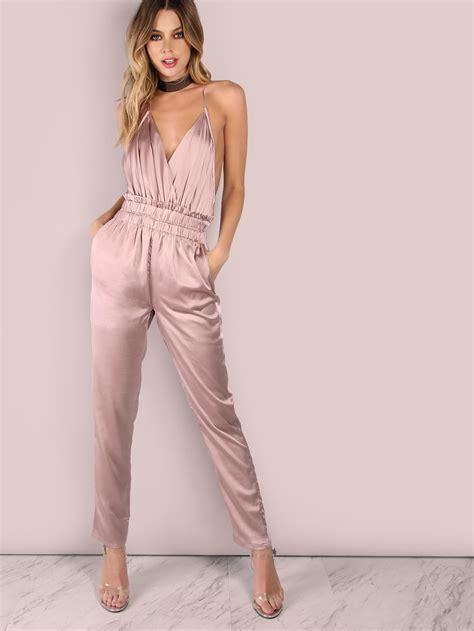 Dusty Pink Silk Satin low back cross back satin jumpsuit dusty pink shein sheinside