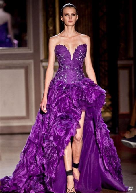 Trend Of The Week Purple Strapless Dresses by Zuhair Murad Violet Purple Strapless Sweetheart Evening
