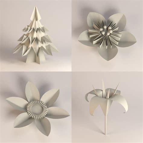 Plant Origami - 3d model paper plants