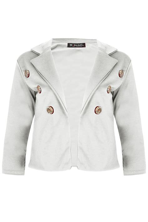 Plain Collared Coat womens collared plain 6 buttons ruched sleeve