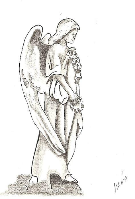 kunstnet werke zeichnungen fantasie ein engel in stein gehauen