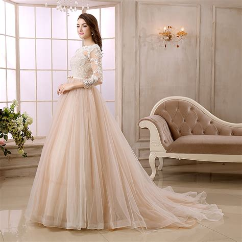 colored dress chagne colored wedding dresses with sleeves junoir