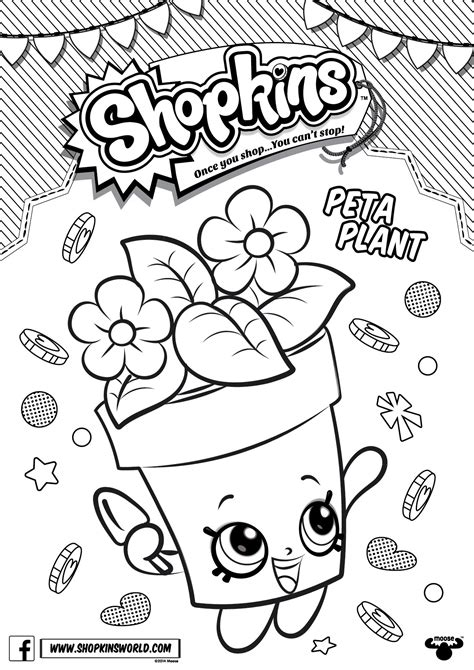 coloring book pages to shopkins coloring pages season 4 peta plant printables