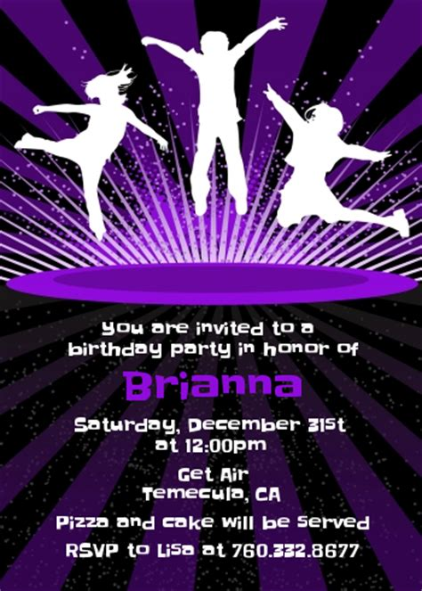 trampoline birthday party invitations candles and favors
