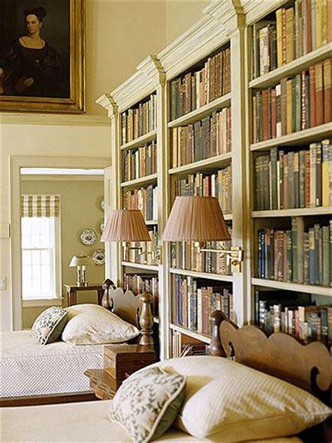 bedroom library built in bookshelves