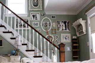 Odd Shaped Living Room Furniture Placement by Family Photo Wall Shabby Chic Staircase Chicago By