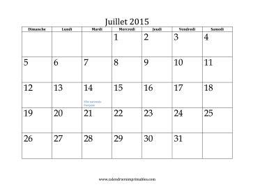 Calendrier à Imprimer Juillet 2015 Calendrier Pour Juillet 2015