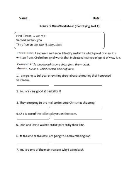 Point Of View Worksheet by 19 Best Images Of Reading Worksheets Grade