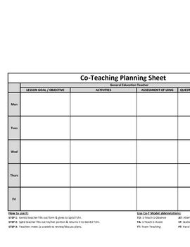 Co Teaching Planning Template Version 1 Of 3 By Justin Ford Tpt Co Teaching Planning Template