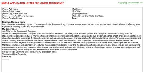 Application Letter For Junior Application Letter For Employment As An Accountant Cfxq