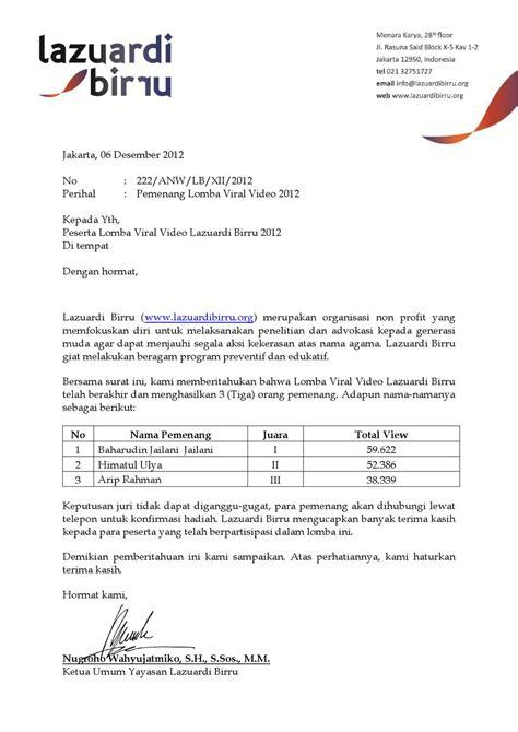 contoh surat pernyataan yayasan sebagai organisasi non profit surat keterangan pemenang lomba viral video lazuardi birru