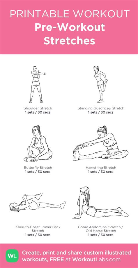 printable flexibility exercises pre workout stretches awesome little site where you can