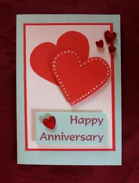 Anniversary Handmade Card Ideas - anniversary card overlapped hearts card