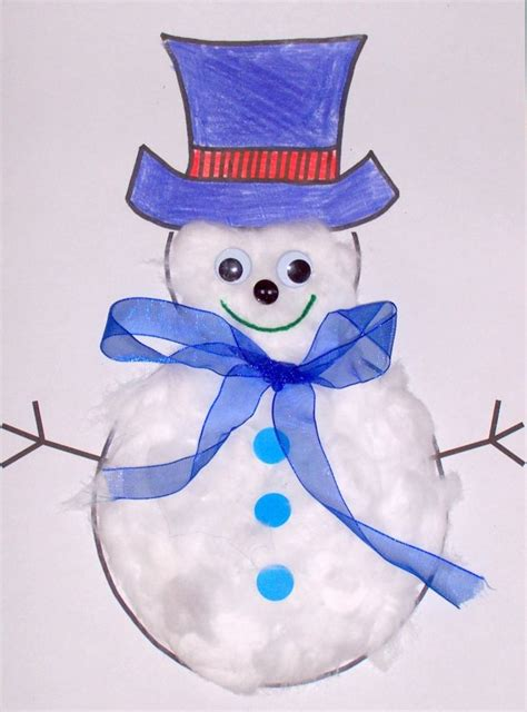 cotton ball snowman printable template snowman winter snow themed storytime craft idea paper