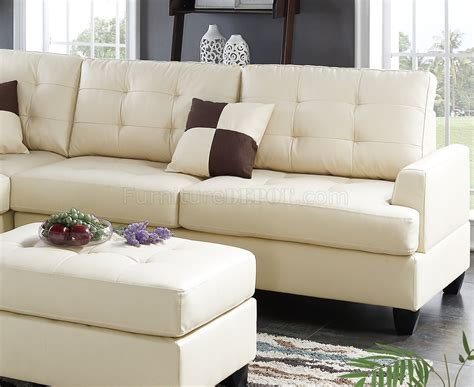 beige leather sectional sofa f6856 sectional sofa 3pc in beige faux leather by boss