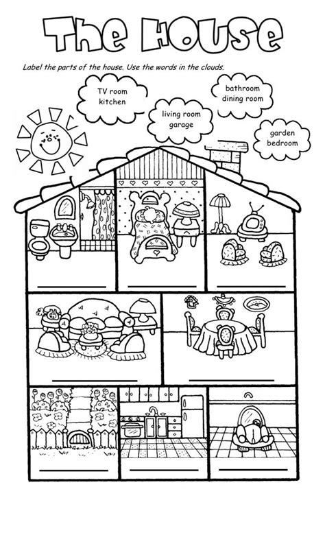 Room clipart house worksheet for kid   Pencil and in color