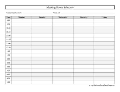 Conference Room Calendar Template by Conference Room Schedule Business Form Template
