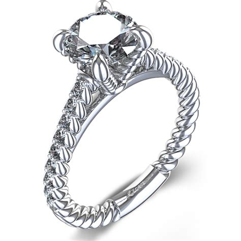 Wedding Rings Rope Design by Rope Design Engagement Ring In 14k White Gold