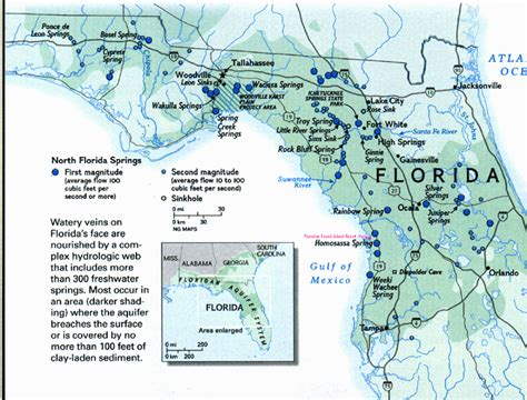 florida springs map map showing the number of springs in the vicinity