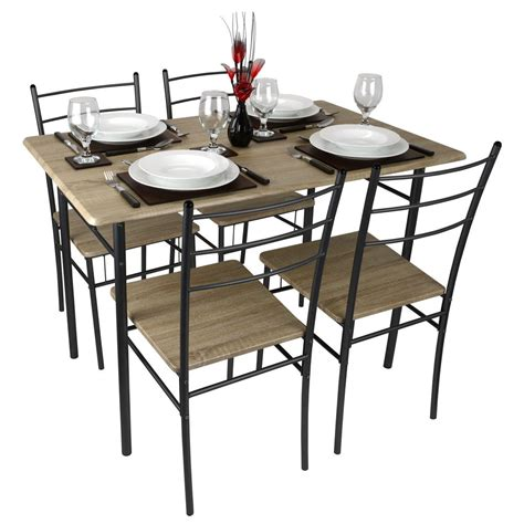 cecilia 5 modern dining table and chairs set