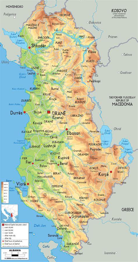 physical map  albania ezilon maps