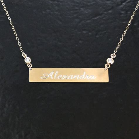 will engrave 14k white gold nameplate necklace