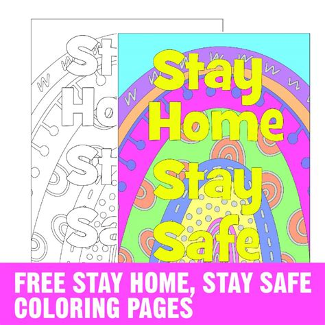 stay home stay safe coloring page  breaks