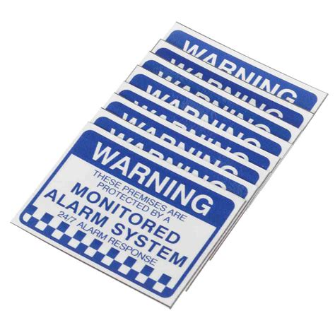 Stiker Horn Warning Sign 8pcs alarm system monitored warning security stickers waterproof security sign sale banggood
