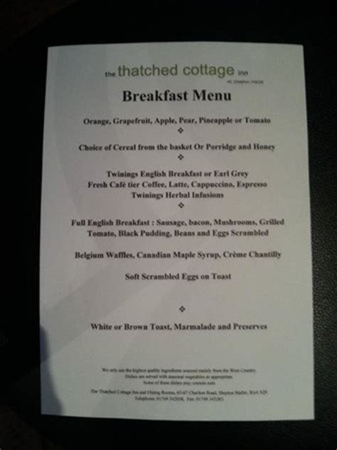 The Cottage Brunch Menu Breakfast Menu Picture Of The Thatched Cottage Inn