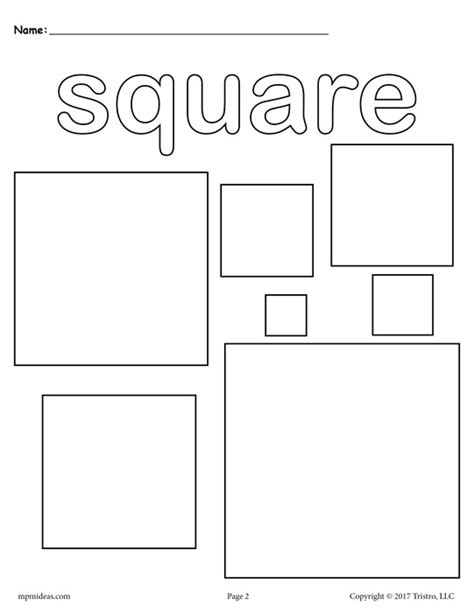 printable square shapes free squares coloring page square shape worksheet