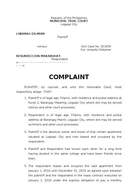 sample complaint ejectmentdoc lease lawsuit
