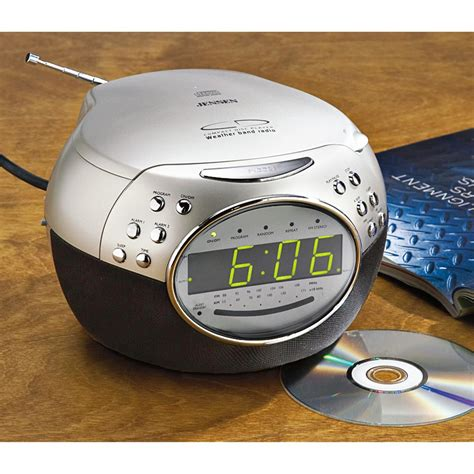 jensen  fm dual alarm weather clock radio cd player   sportsmans guide