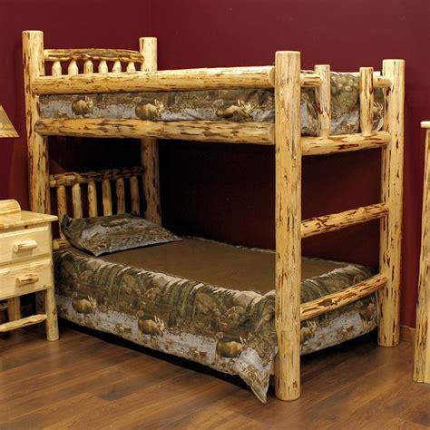 twin log bed montana twin over twin log bunk bed ezra daniel