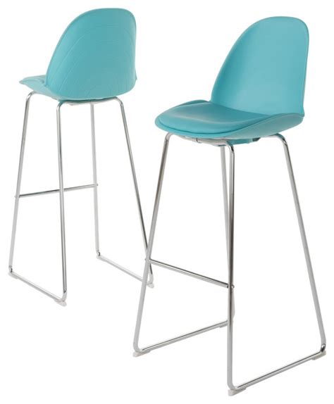 Hanaryn Bar Chairs, Set of 2, Light Blue   Contemporary   Bar Stools And Counter Stools   by