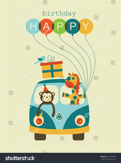 happy birthday card design vector illustration fun happy birthday card design vector stock vector