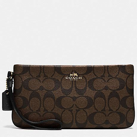 Wrislet Large Coach F 65748 coach f65748 large wristlet in signature imitation gold brown black coach accessories