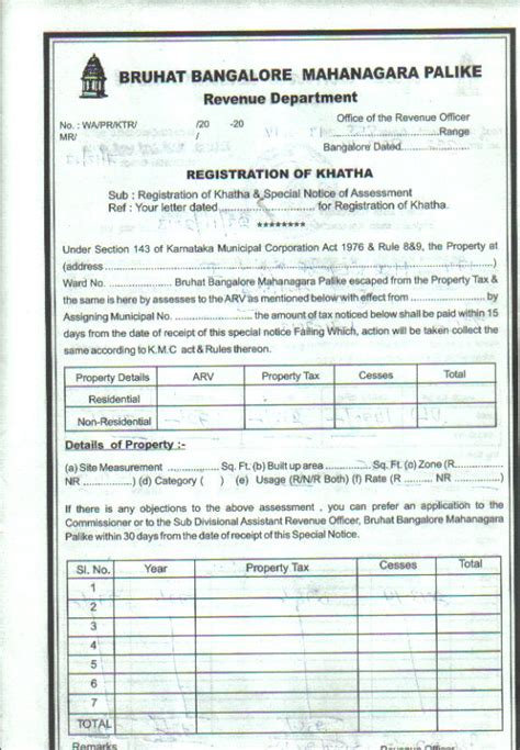 Request Letter For Khata Khatha Registration And Khatha Transfer In Bangalore