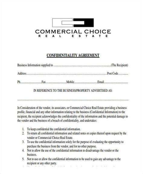 real estate confidentiality agreement template 6 sle real estate confidentiality agreements free