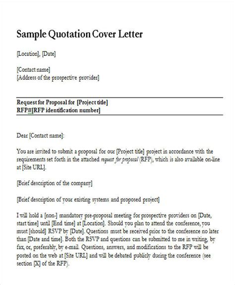quotation cover letter 27 sle quotation letters
