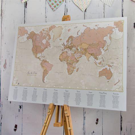 antique world map wedding table plan  maps international