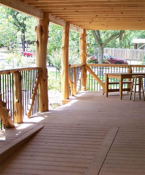 native cedar post porch  composite decking  living